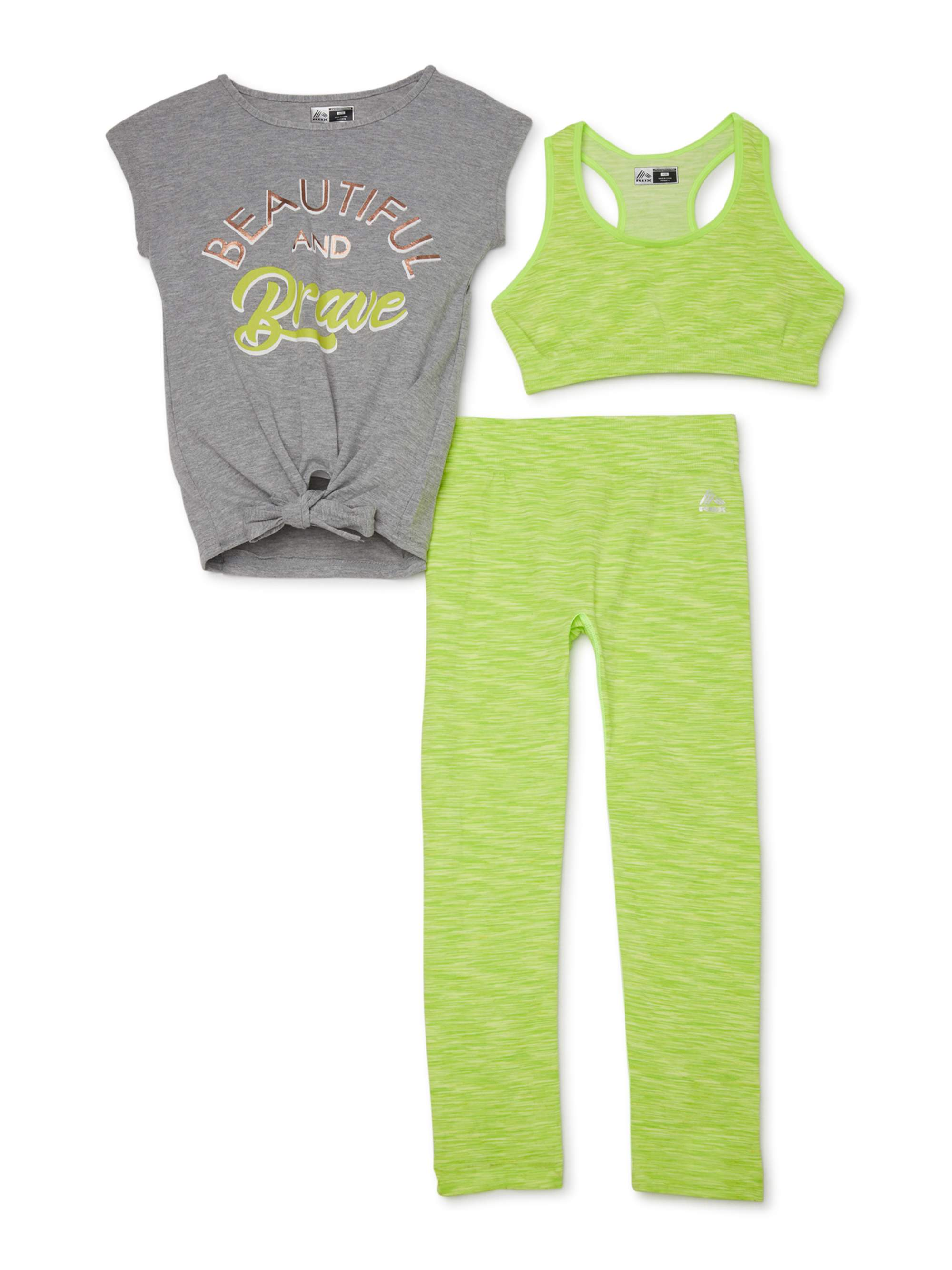 RBX Girls Workout Set 4 Piece Athletic Performance T-Shirt Leggings and Sports Training Bralette Set