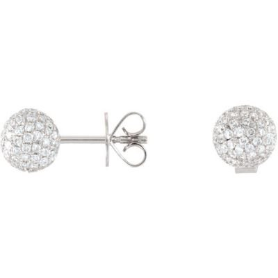 Diamond Pave Ball Earrings 68562 / 18Kt White / Pair 1 1/6 Ct Tw / Polished / Diamond Earrings