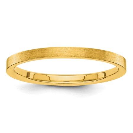 Roy Rose Jewelry 14K Yellow Gold 2mm Flat Satin Finish Wedding Band Ring Size 4.5