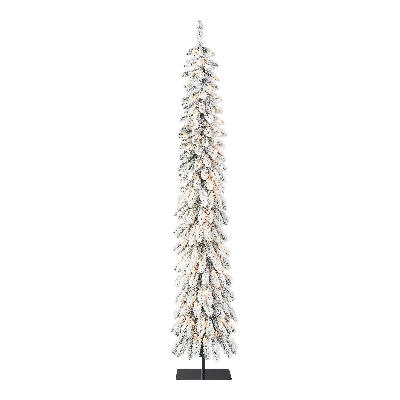 Holiday Time Pre Lit Flocked Pencil Alpine Artificial Christmas Tree Clear Lights Green 7 Walmart Com Walmart Com