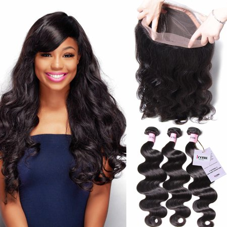 UNice Icenu Series 8A Indian Curly Hair 360 Lace Frontal With 3Bundles Virgin Human Hair,