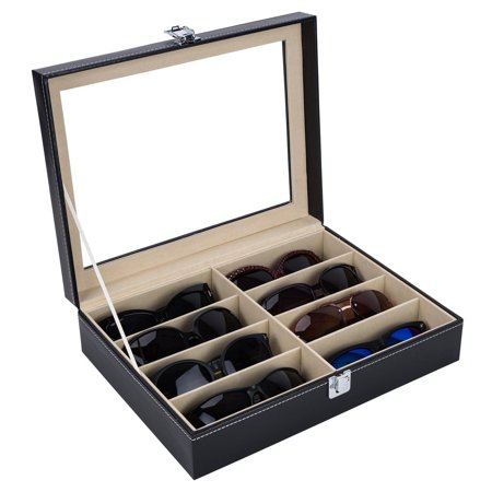 Zimtown 8 Slots Leather Sunglass Glasses Storage Holder Box Display Case