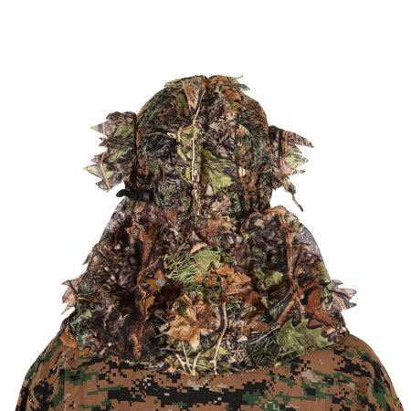 Camouflage Leafy Hunting Ghillie Hood Green Leafy Head Net Eyehole Opening and Leaf