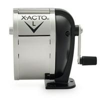 X-ACTO Model L Classroom Manual Pencil Sharpener, Black/Nickel-plated
