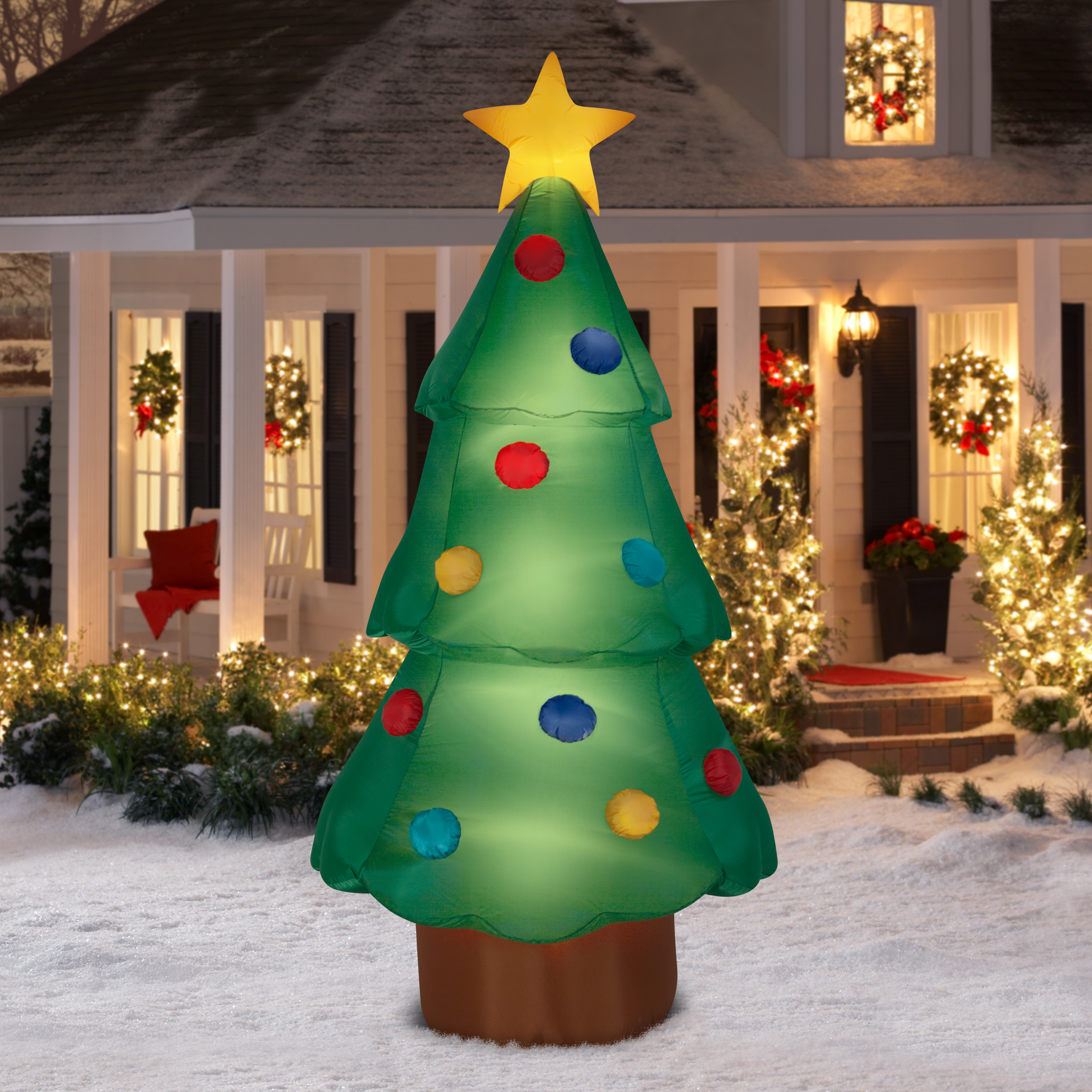 Elegant Airblown Inflatable Christmas Tree Giant 10ft Tall By Gemmy Industries    Walmart.com