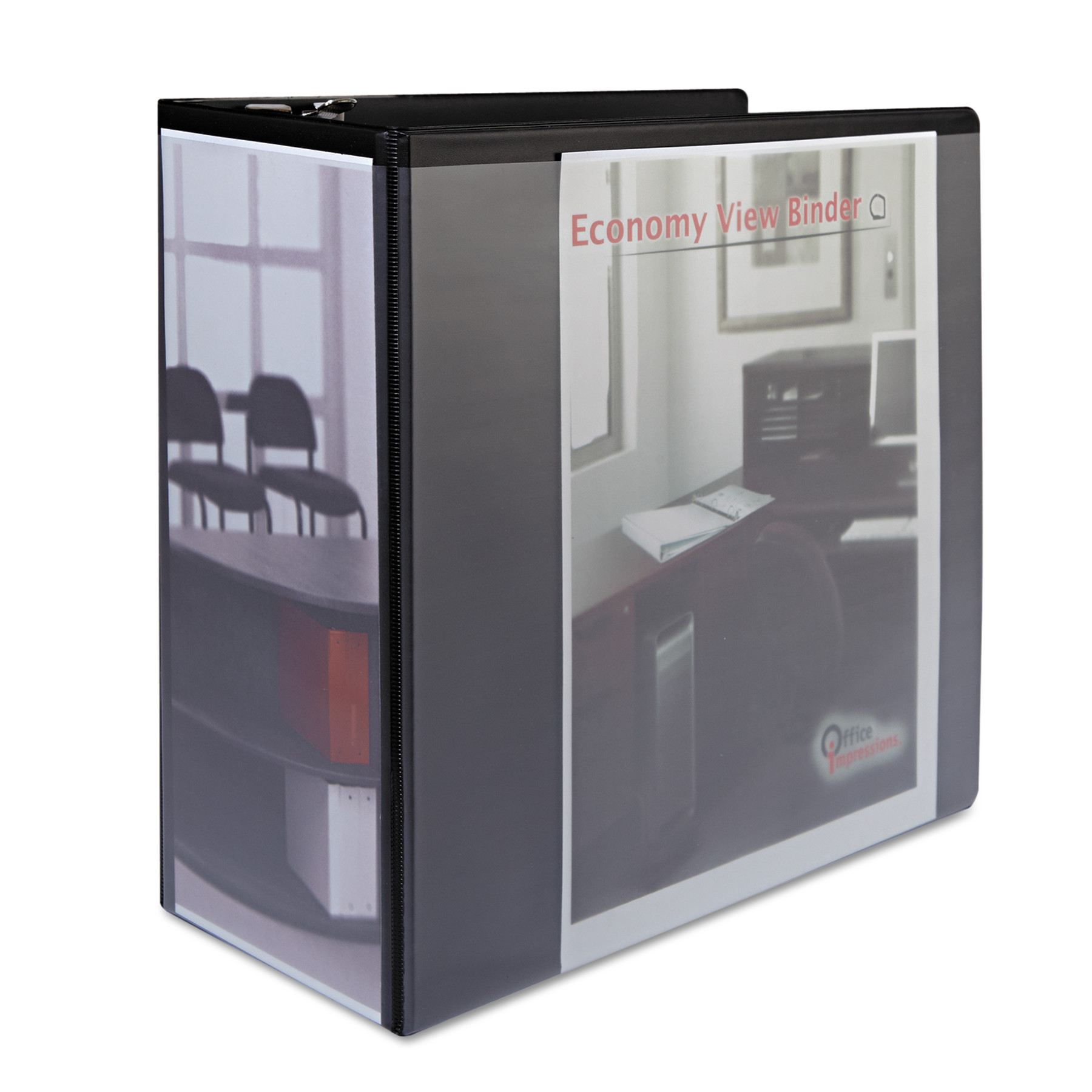 "Office Impressions Economy Slant-Ring View Binder, 5"" Capacity, Black"