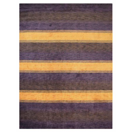 Hand Knotted Loom Wool Area Rug Contemporary Purple Brown 8x10 Com