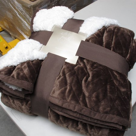 Luxurious Sherpa Flannel Plush Quilted Blanket -(King, Chocolate)