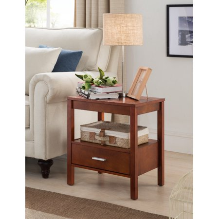 Occasional Storage - Ultima Walnut Wood Contemporary Occasional Side End Night Table Organizer With Storage Shelf & Drawer