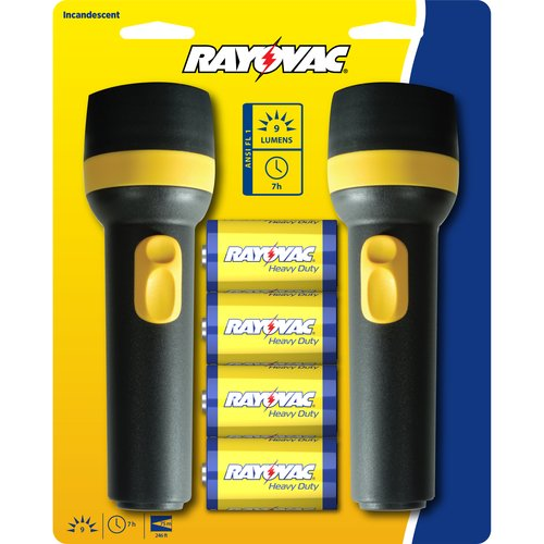 Rayovac Bright Flashlight With Batteries, 2pk (Colors May Vary)