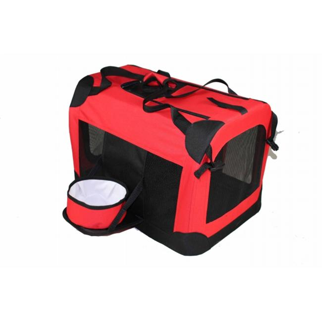 Pet Life H3RDLG Red Deluxe 360 Crate with Removable bowl - LG