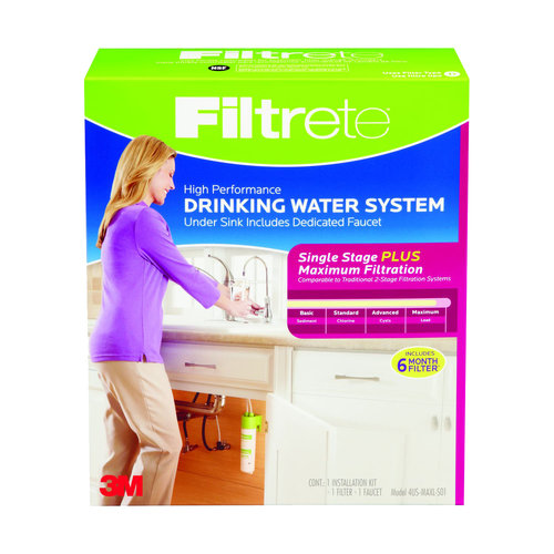 "Filtrete"" Under Sink System w/ Dedicated Faucet (sediment, CTO, cysts, lead, pharmaceuticals, select VOCs)"