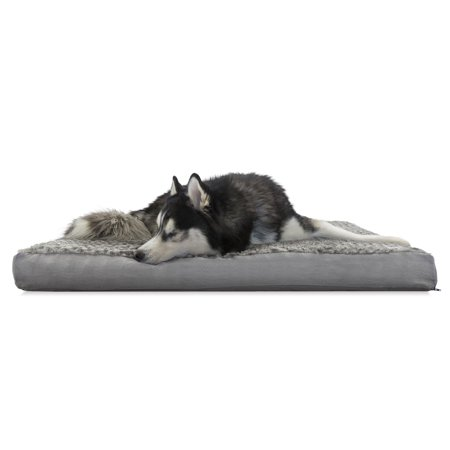 FurHaven Pet Dog Bed | Deluxe Cooling Gel Memory Foam Orthopedic Ultra Plush Mattress Pet Bed for Dogs & Cats, Gray, Jumbo - Memory Foam Cat Bed