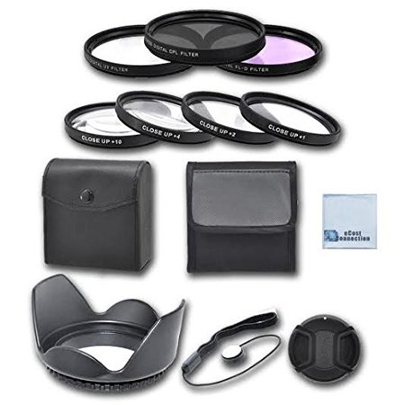 67mm High resolution Pro series Multi Coated HD 3 Pc. Digital Filter Set + 67mm Pro Series High Quality 4pc HD Macro Close Up Filter Set +1 +2 +4 +10 + Hard Tulip Lens Hood & an eCostConnection Access (Hoya Lens Filter 67mm)