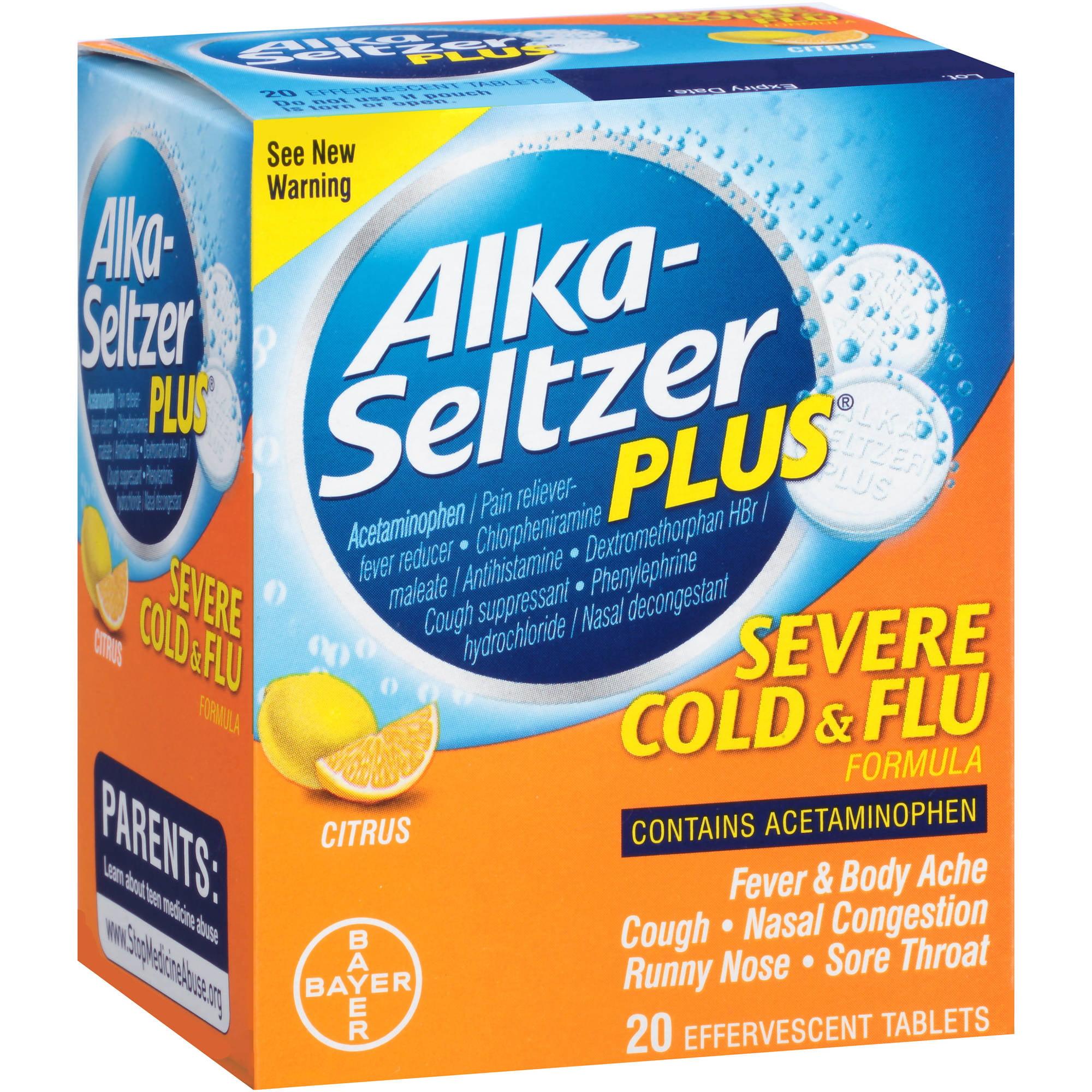 Alka-Seltzer Plus Citrus Flu Formula Tablets, 20 count