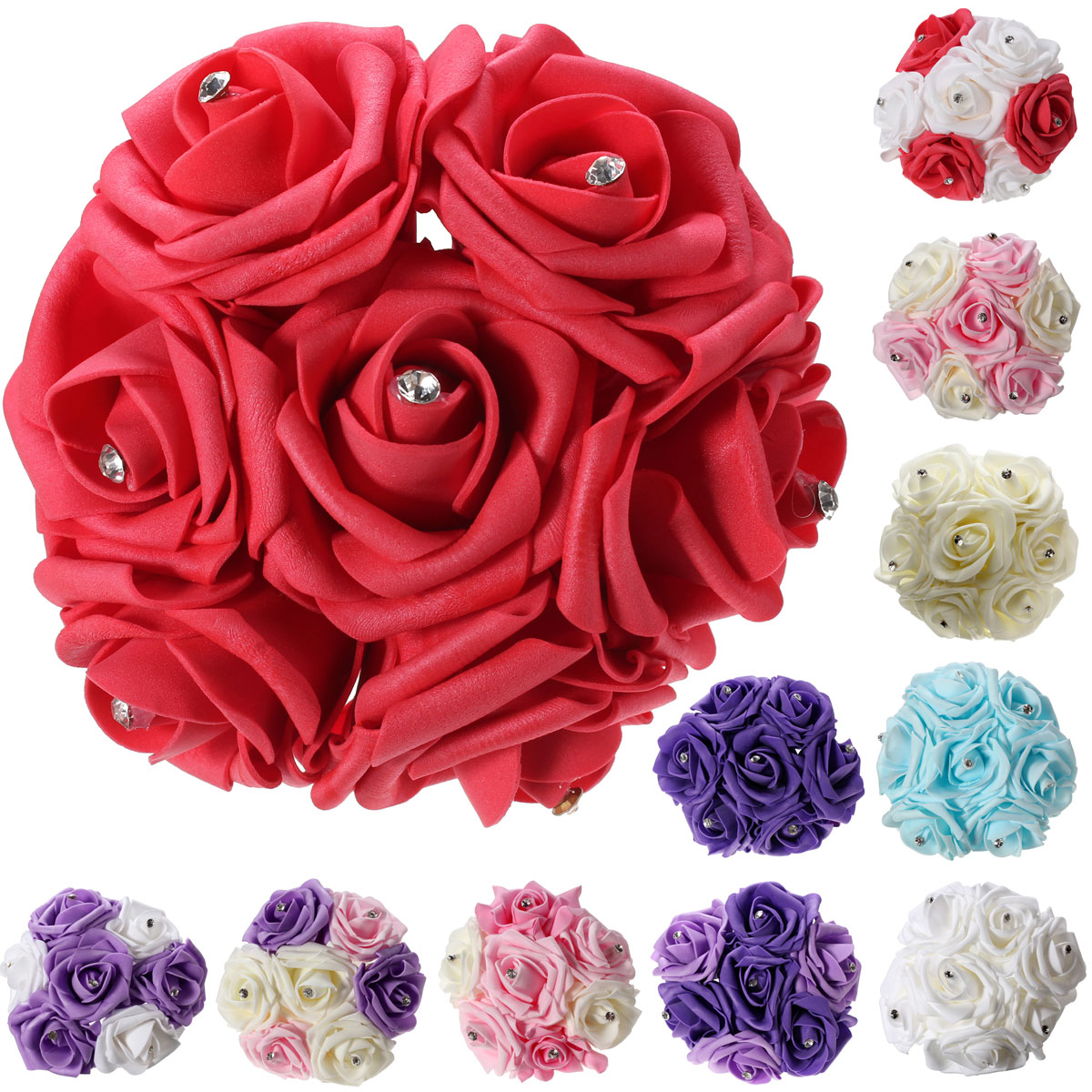 7PCS Artificial Foam Flower Rose Craft Bridal Bride Bouquet Wedding Party Decor
