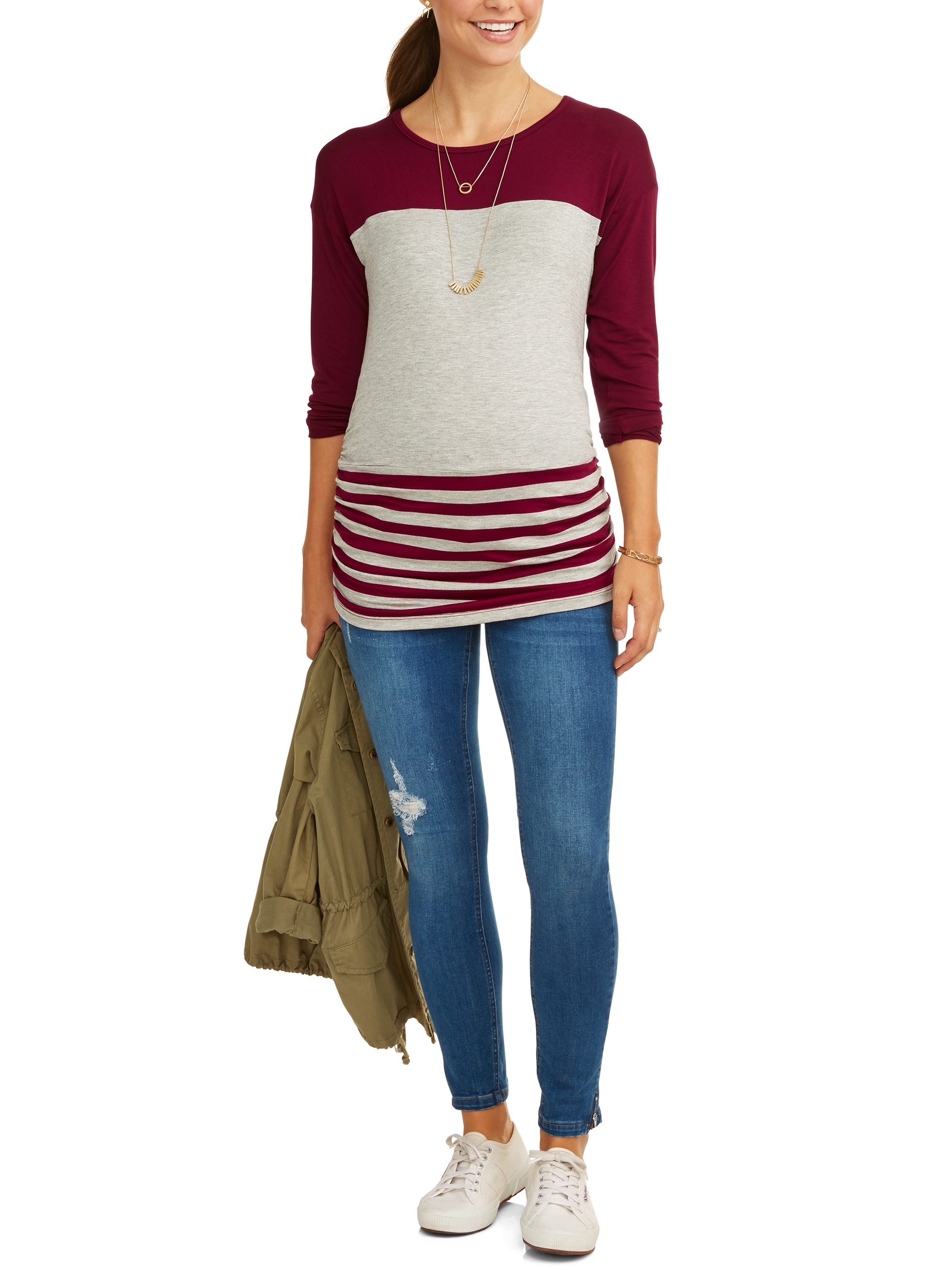 Maternity Long Sleeve Stripe Color Block Top by Zoomers