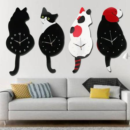 . 20 Creative Wall Clock Cartoon Animal Classic Vintage Retro Cat Dog  Swinging Tail Pendulum Home Living Room Bedroom Decor