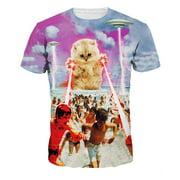 Men's T-Shirt Alien cat 3D Printed Short Sleeve Lovers T-Shirts Plus Size S-3XL