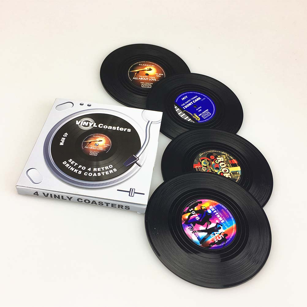 Spinning Vintage Vinyl Record Drinks Coasters Cup Mat, 4pcs Pack by