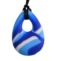 Oval Chewy Pendant With Breakaway Clasp Necklace- Blue Swirl Color