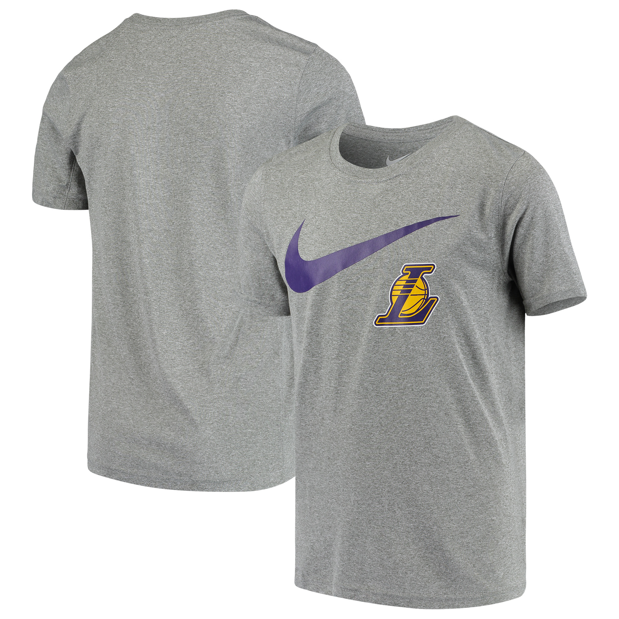 Los Angeles Lakers Nike Swoosh Logo Legend T-Shirt - Heathered Gray