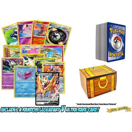 100 Pokemon Card Lot Featuring 1 Legendary V Ultra Rare - Foils - Rares - GG Value Pack - Includes Box!