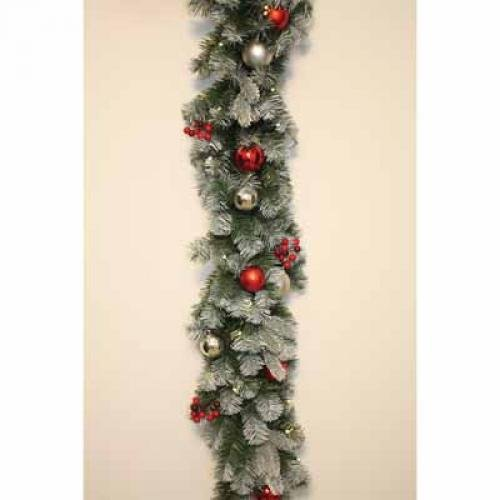 Amerihua AMICM170612LED50 6-Foot Cordless Lighted Garland, Red/Silver Ornaments