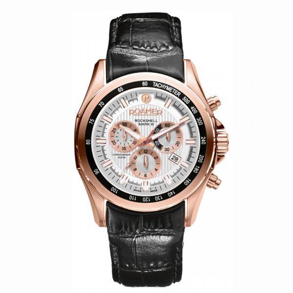 Roamer Men's Quartz Analog Chronograph Display Rose Gold Case White Dial Black Leather Strap 220837492502