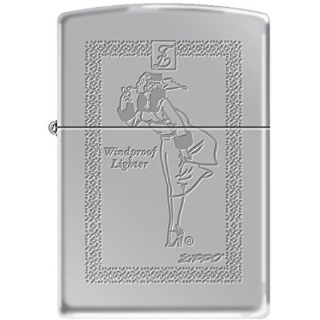 Zippo Engraved Windy Girl Windproof Rope Framed High Polish Chrome (Once On A High And Windy Hill)