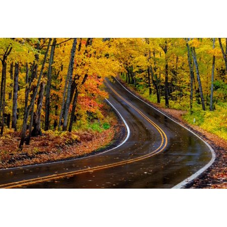 Highway 41 covered roadway in autumn near Copper Harbor in the Upper Peninsula of Michigan, USA Poster Print by Chuck Haney Copper Harbor Michigan
