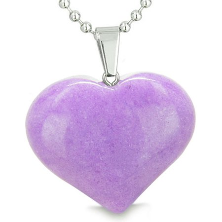 Amulet Large Puffy Heart Lucky Charm in Purple Quartz Pendant 22 Inch Necklace