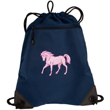 Horse Bag (Cute Horse Drawstring Bag Pink Horse Cinch Pack - Unique Mesh &)
