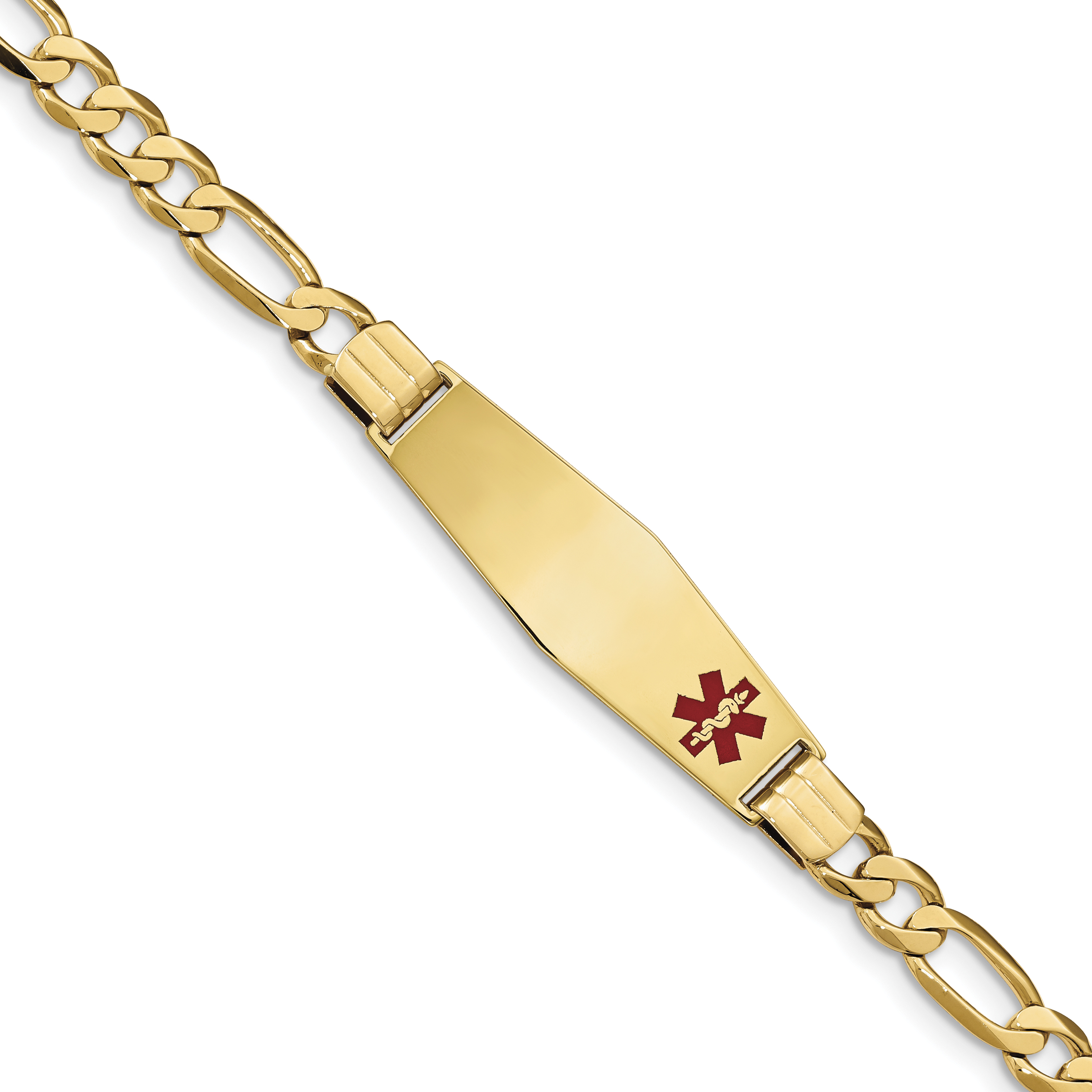 14K Medical Soft Diamond Shape Red Enamel Flat Figaro Link ID Bracelet by Core Gold