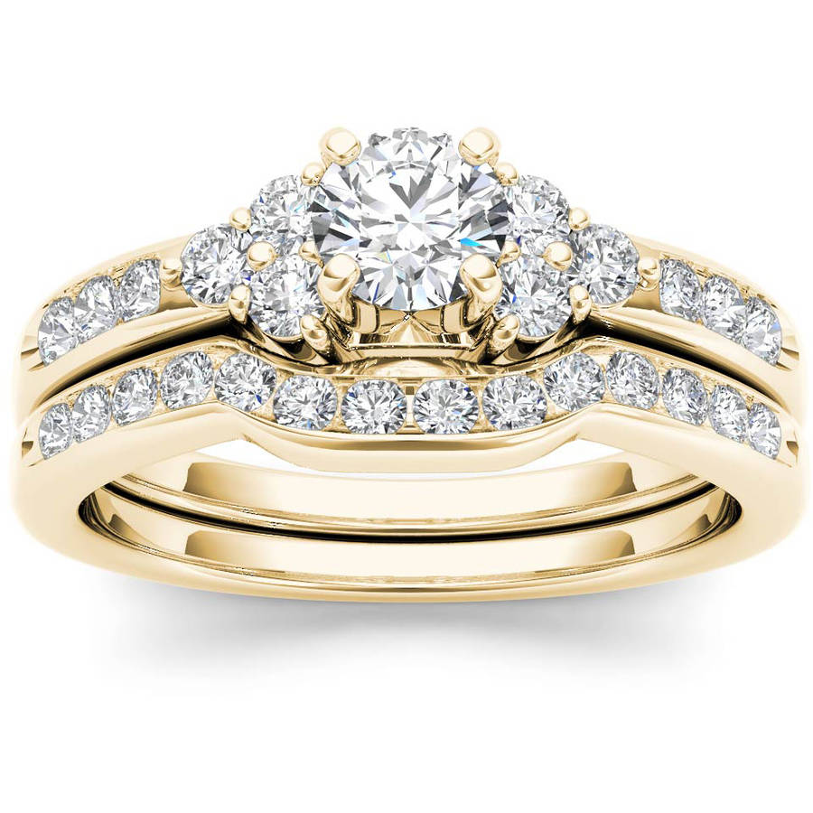 1 Carat T.W. Diamond Classic 14kt Yellow Gold Engagement Ring Set