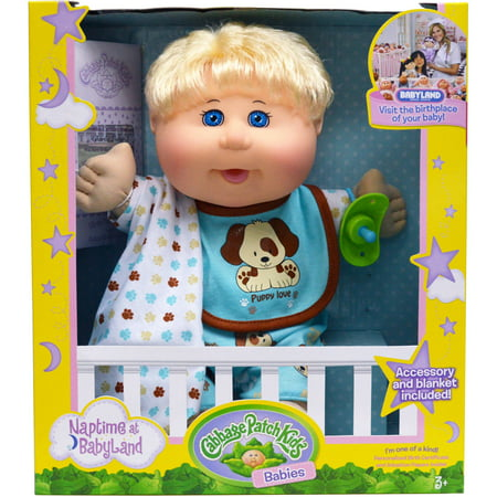 Wicked Cool Toys Cabbage Patch Kids Naptime Babies 12.5u0022 Doll Blonde Boy Dog Jumper