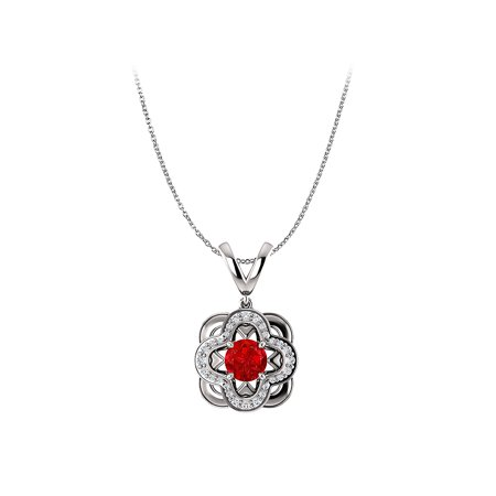 Round Ruby and CZ Accented Designer Pendant in Silver - image 2 de 2