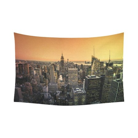 Phfzk Cityscape Wall Art Home Decor  Aerial View Of Manhattan Skyline At Sunset New York City Tapestry Wall Hanging 90 X 60 Inches