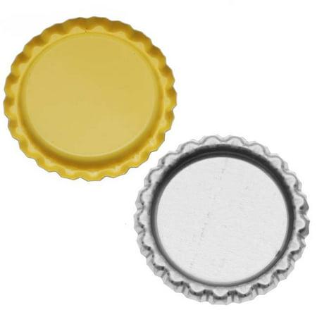 New Yellow Flat Crown Bottle Caps Craft Scrapbook Jewelry No Liners (50)