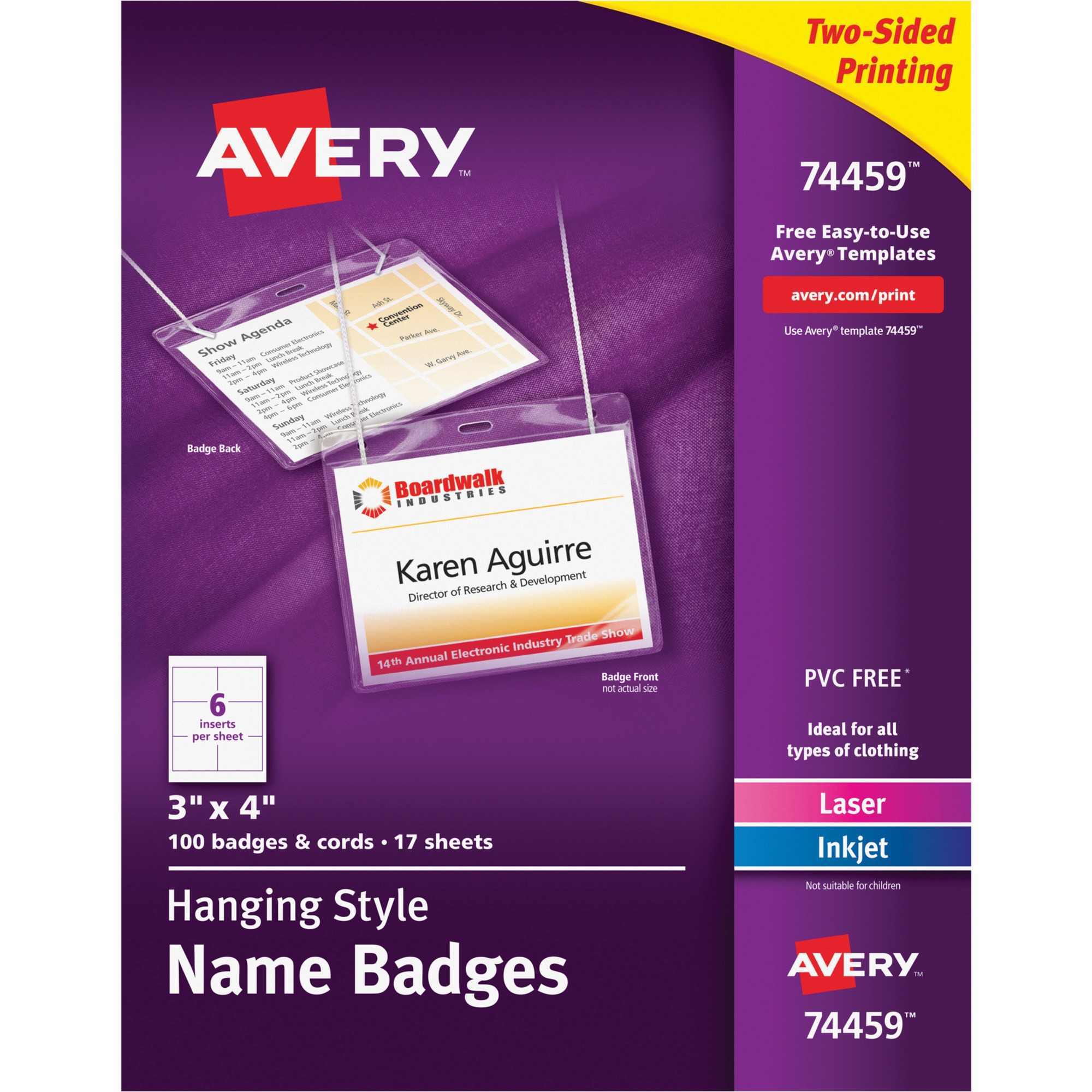 Avery Neck Hang Badge Holder w/Laser/Inkjet Insert, Top Load, 3h x 4w, White, 100/BX