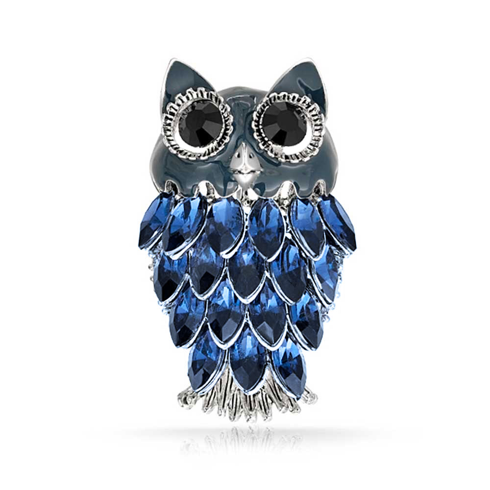 Bling Jewelry Simulated Sapphire Crystal Owl Rhodium Plated Brooch Pin by Bling Jewelry