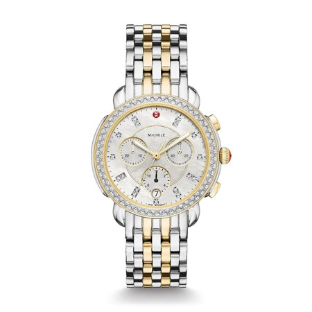 Michele Sidney Two-Tone Stainless Steel Diamond Dial Women's Watch MWW30A000005 ()