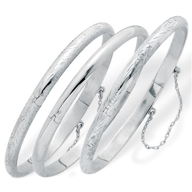 PalmBeach Jewelry 23987 Sterling Silver Polished Engraved and Floral Bangle Bracelets 3-Piece Set 7''