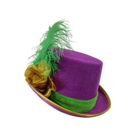 Womens Velvet Mardi Gras Top Hat Gold Rose Green Feather Costume Accessory (Crazy Mardi Gras Costumes)