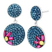 Flower Drop Earrings with Swarovski Crystal in Sterling Silver