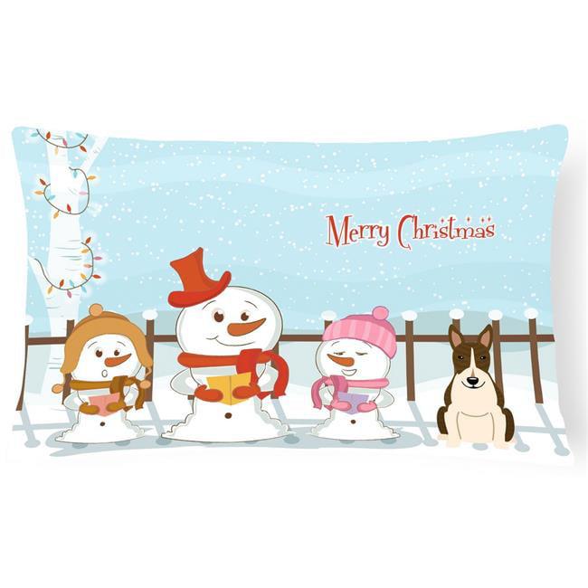 Carolines Treasures BB2467PW1216 Merry Christmas Carolers Bull Terrier Dark Brindle Canvas Fabric Decorative Pillow - image 1 of 1