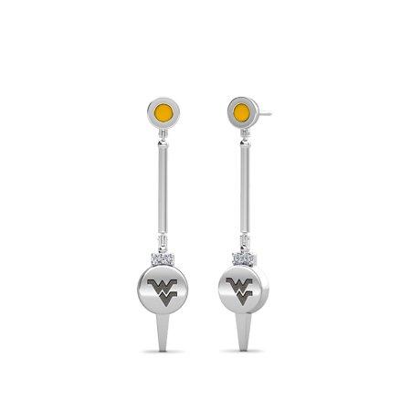 West Virginia University Engraved Sterling Silver Diamond Dangle Earrings In Yellow - image 1 of 4