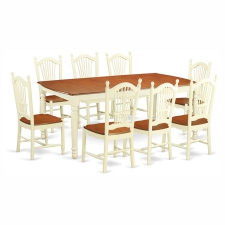 East west furniture dover 8 piece rectangular dining table for 10 piece kitchen table set