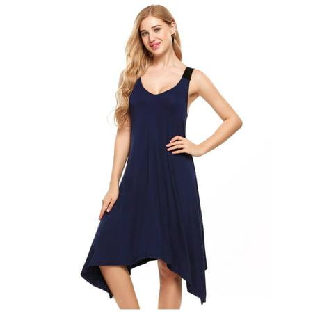 Asymmetrical Gown - Womens Sleeveless Pajamas Solid V Neck Nightgown Sleepwear Asymmetrical Mini Dress RllYE