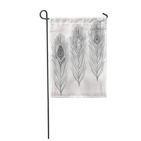 KDAGR Black of Peacock Feathers Sketch Silhouette Symbol White Abstract Garden Flag Decorative Flag House Banner 12x18 inch ()